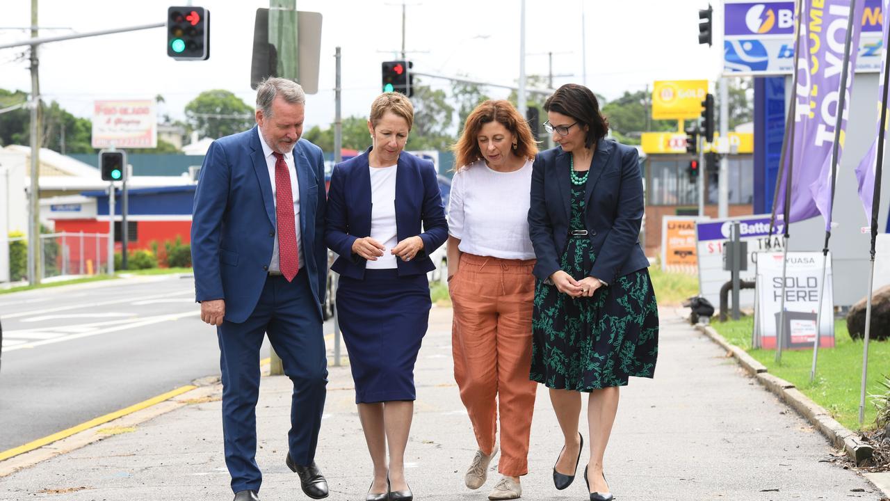 MP's Jim Madden, Di Farmer, Jennifer Howard and Charis Mullen on Brisbane Street in West Ipswich.