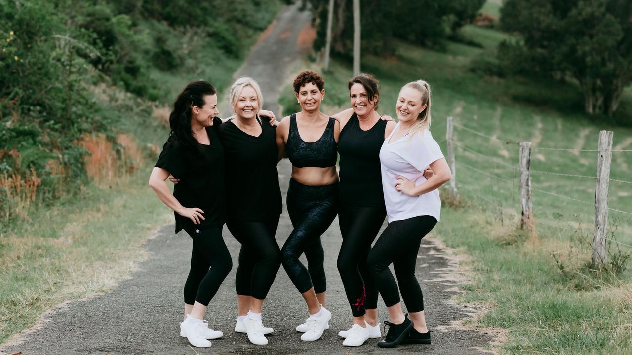 Tweed women Jacqi Holloway, Leah Eadie, Tracey Kingi, Suella Lamont and Catherine King modelling Tweed business Azolla Lifestyle's line. Photo: Lady Bella Photography
