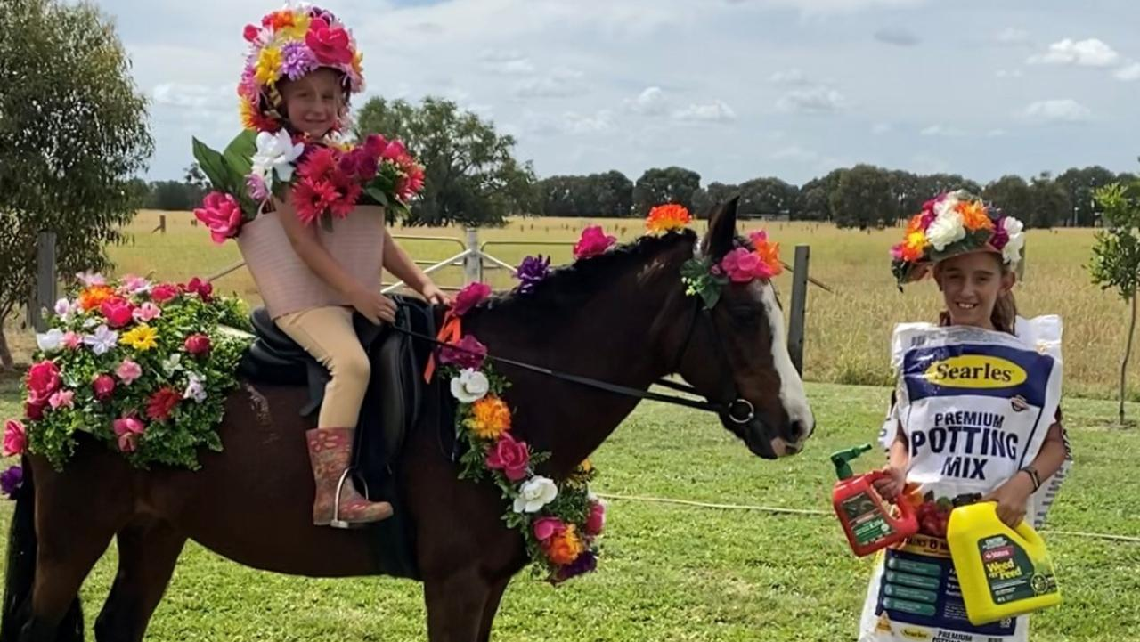 VIRTUAL: Kalli Nowell on her horse Cherrytree Vagabond with friend Gracie Bunker ready for the compete in the fancy dress competition online.