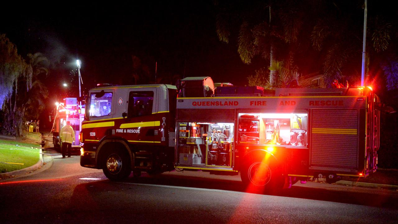 Generic Emergency services, Queensland Fire and Rescue, QFES; house fire at night