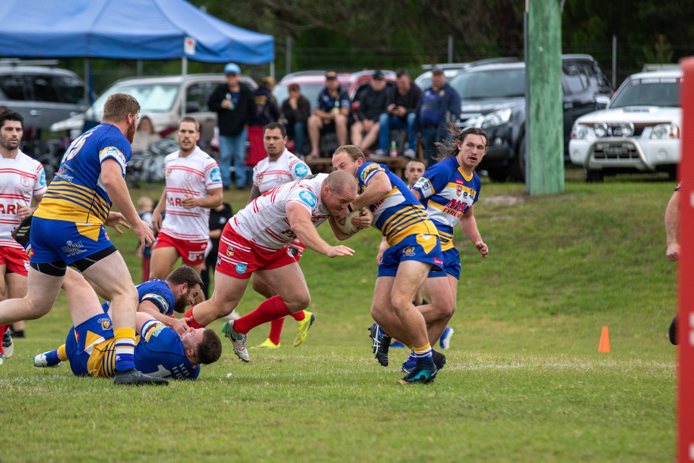 Byron Bay front-rower Dylan Montgomery on the run in NRRRL.