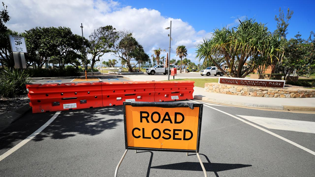 Rowan Robinson car park at Kingscliff has been closed after signs were errected along Tweed Coast Beach carparks for the easter Break. Photo: Scott Powick