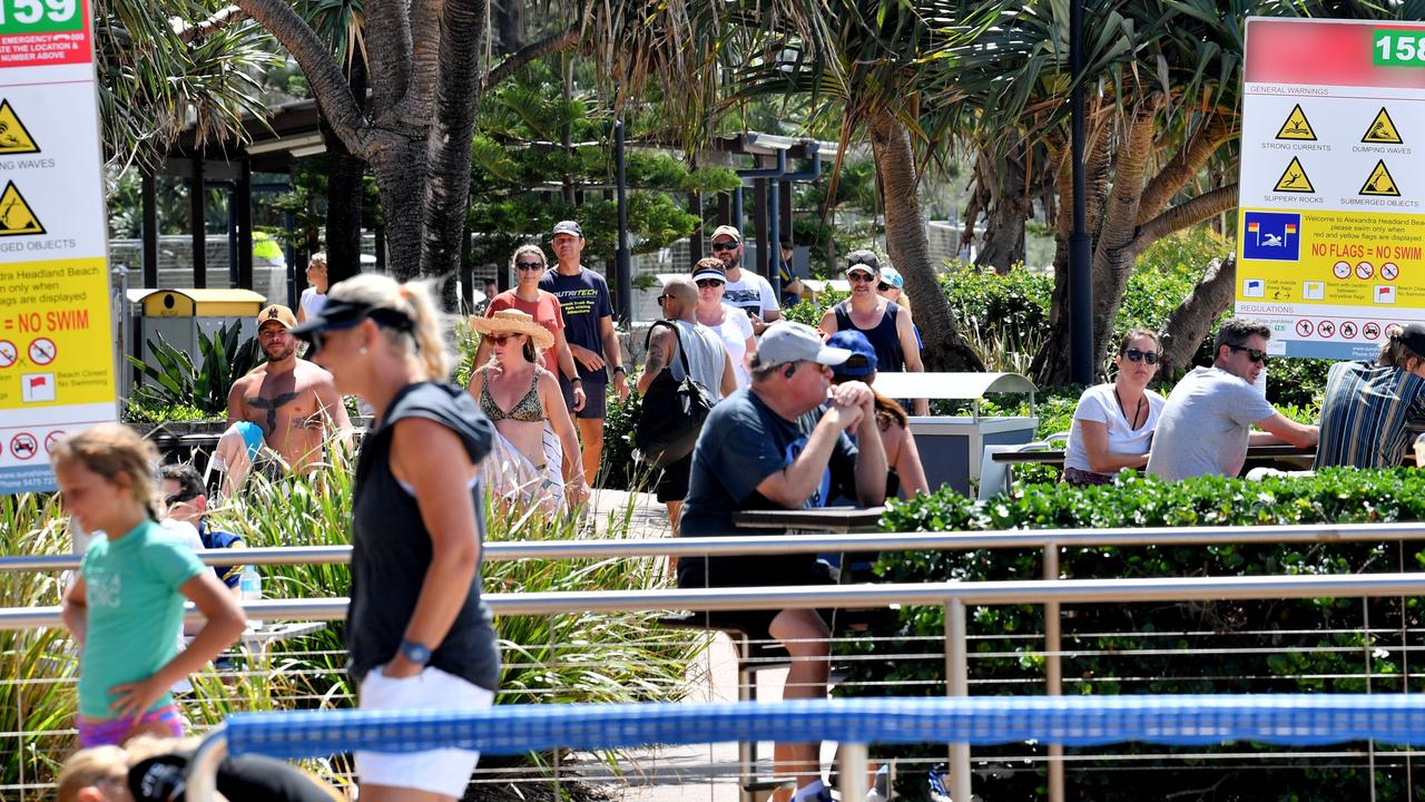 Crowds were bigger than this at Alexandra Headland over the long weekend, according to police. Photo: John McCutcheon / Sunshine Coast Daily