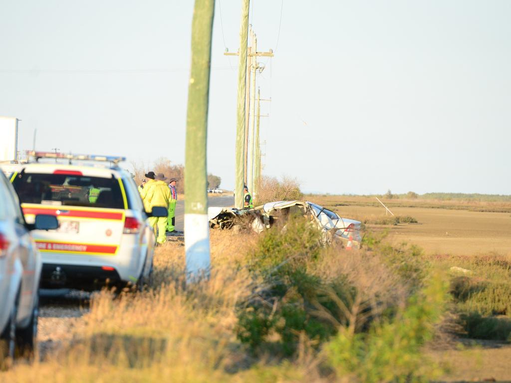 The wreckage from the Bajool car crash.Photo Austin King / The Morning Bulletin
