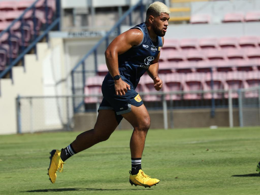 John Asiata showing the mop matches the boots as North Queensland Cowboys players returned to training at Cowboys HQ on Wednesday. Picture: Cowboys Media