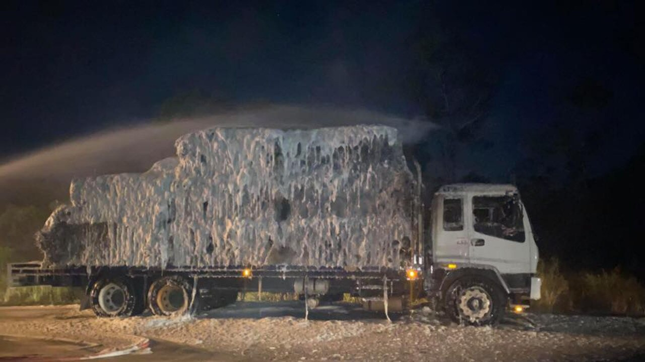 The truckload of hay caught alight on the Maryborough-Hervey Bay Rd.