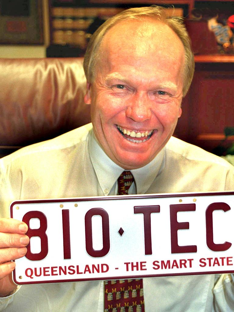 "Former premier Peter Beattie with a ""Smart State"" number plate."
