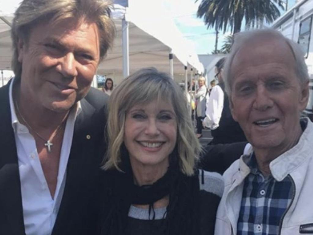 Paul Hogan with Richard Wilkins and Olivia Newton-John in 2018. Picture: Supplied