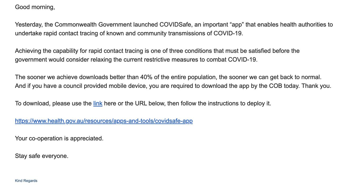 An email from Strathfield Council asking its employees to download the COVIDSafe app. Picture: Supplied
