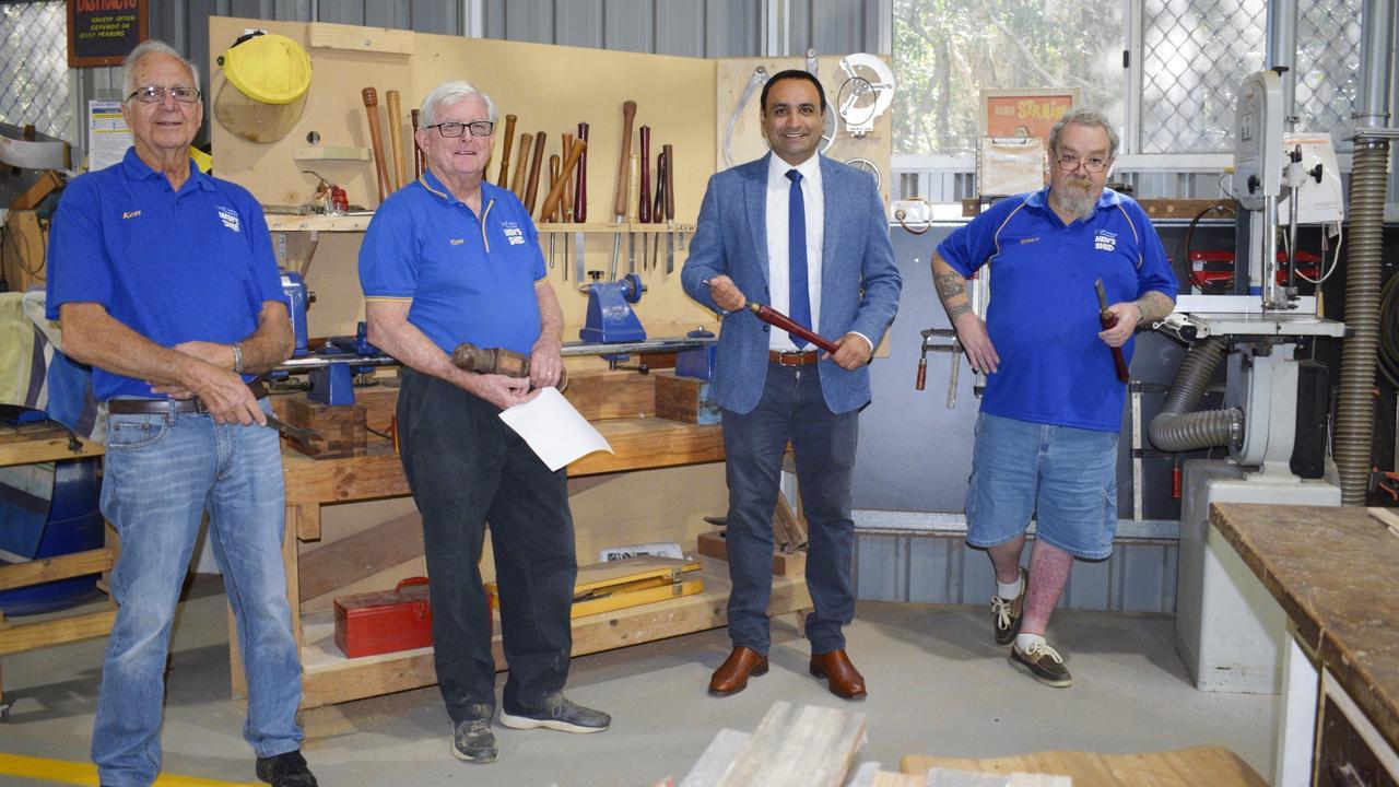 The Men's Shed Vice President Ken Ryan, President Tom Skinner, Coffs MP Gurmesh Singh and Shed Manager Robert Houston.
