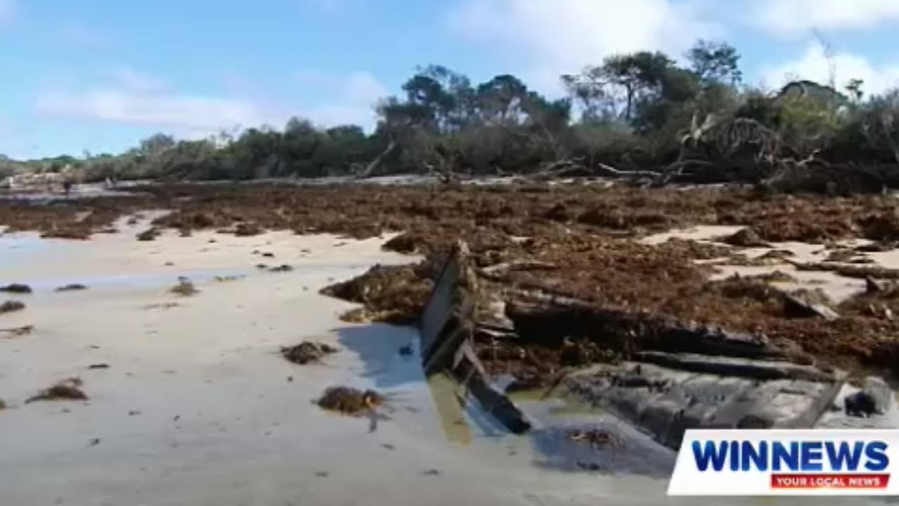 Inverloch shipwreck washes up on Victorian beach. Picture: WIN News