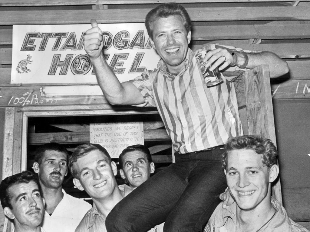Lucky Starr carried by airmen after performing for the RAAF in Vietnam. Picture: Supplied