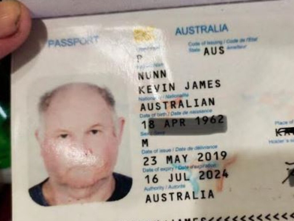 The passport of Australian Kevin James Nunn, whose body was found at his home in Bali. Picture: Supplied