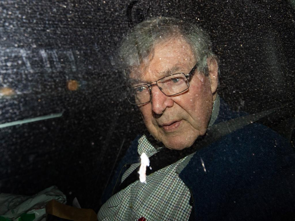 Cardinal George Pell arriving at the Seminary Of The Good Shepherd in Sydney on April 8 after 405 days in prison. Picture: Bianca De Marchi/AAP