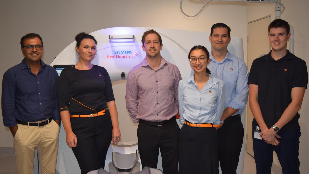 Dr Gaurav Khera, Shannon Harrold, Ben Brock, Truc Ho, Jamie McMullen and Thomas Ellis at the I-MED Radiology clinic in Yamanto.