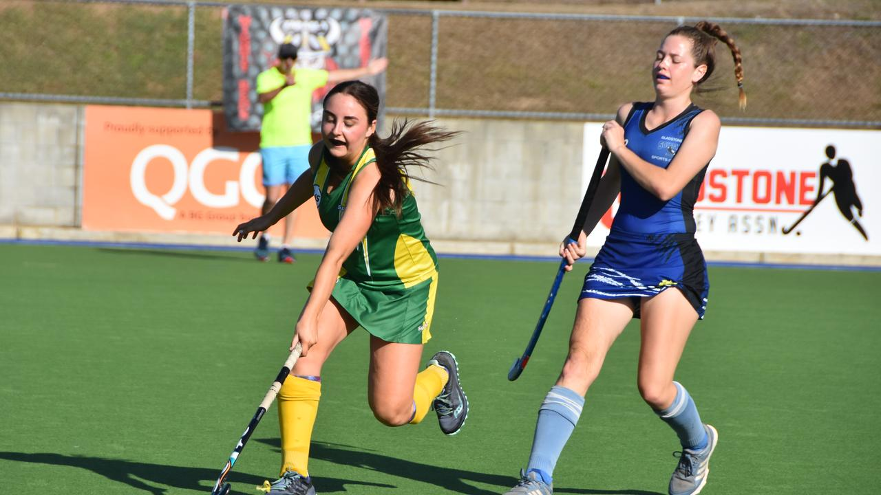 Gladstone Sparks Ash Mcauley and Gladstone South Charli-Rose Adams in the A1 hockey women's preliminary final
