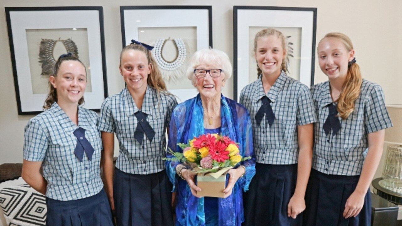 Doris Gibbs was delighted to have a number of students from Coomera Anglican College, which she helped found, at the Arcare Hope Island International Women's Day celebrations in which she was honoured.