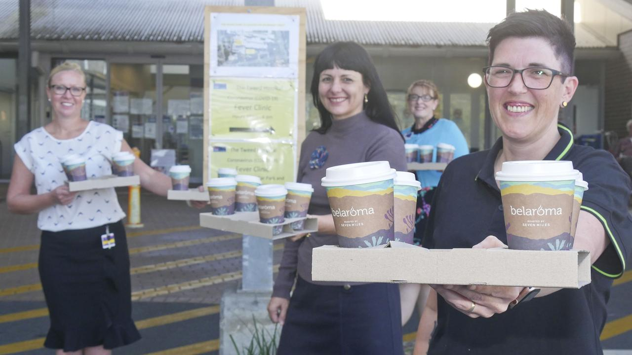 (L-R) Business manager Linda Goodwin, Our Kids' Rebekka Battista, nursing administration manager Myra Drummond and Fresh Plus Cafe manager Kristy Olsen (practising social distancing) at Tweed Hospital in preparation for a fundraiser to shout all hospital essential workers with a coffee. Photo: Jessica Lamb