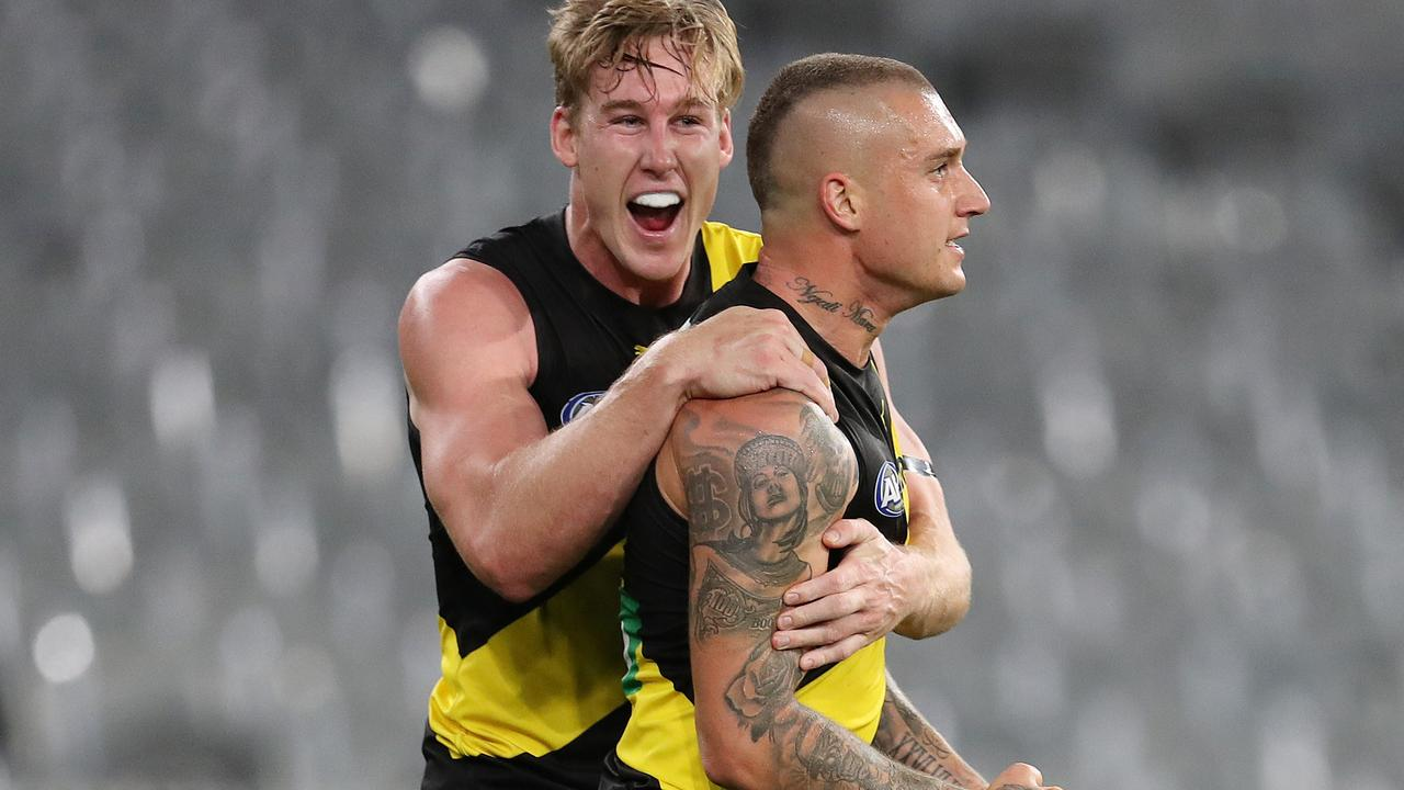 Tom Lynch and Dustin Martin celebrate a goal in Round 1. Picture: Michael Klein
