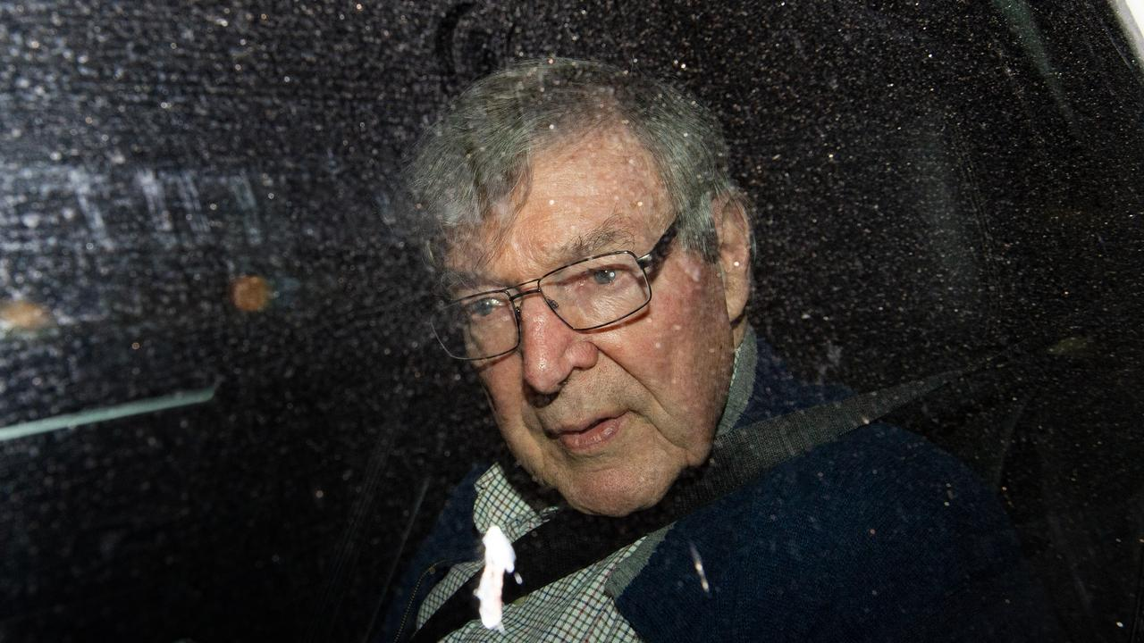 Cardinal George Pell arrives at the Seminary Of The Good Shepherd in Sydney on April 8. Picture: Bianca De Marchi/AAP