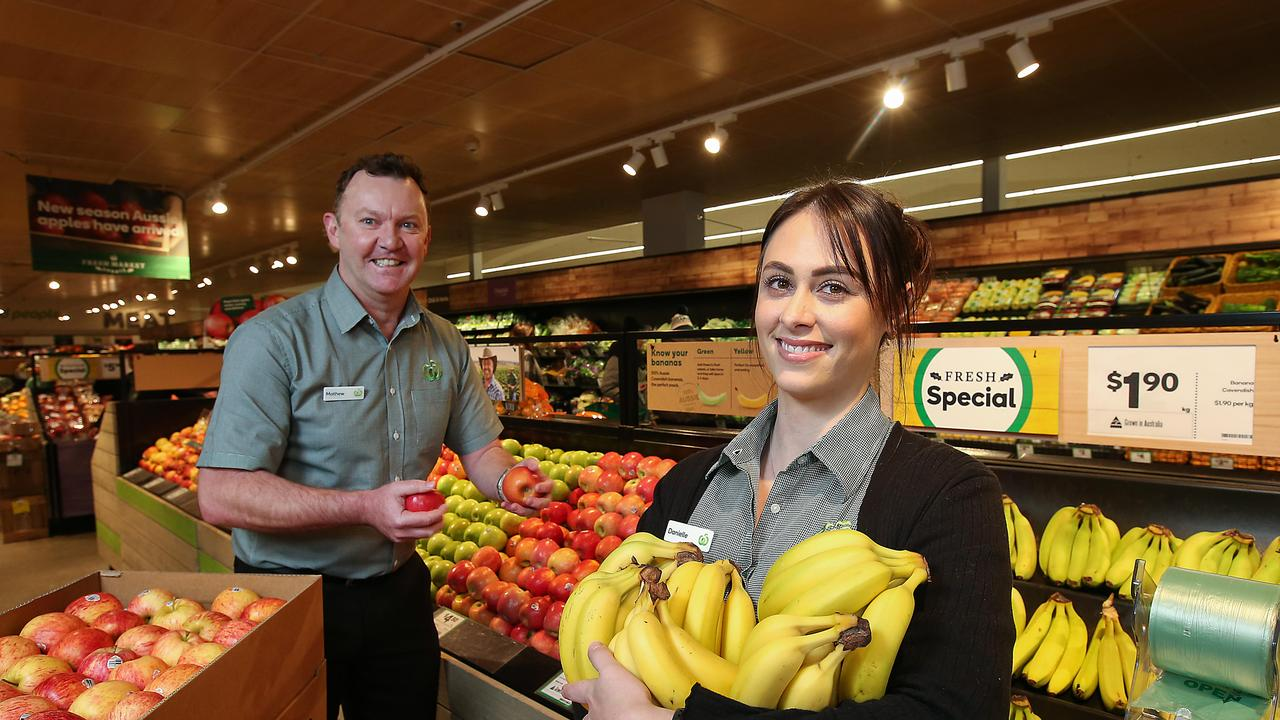 Woolworths workers Mathew McDonald and Danielle Matheou. Picture: Ian Currie
