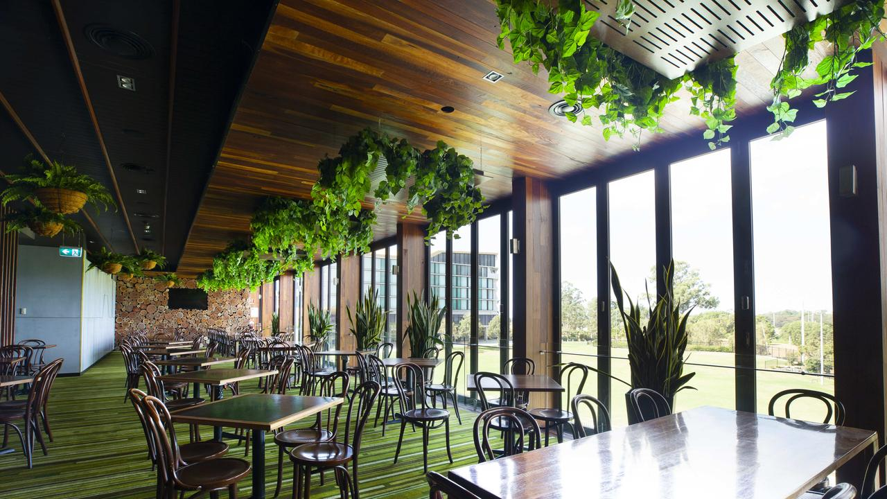 One of the empty dining areas at the Eatons Hill Hotel Photo: AAP/Renae Droop