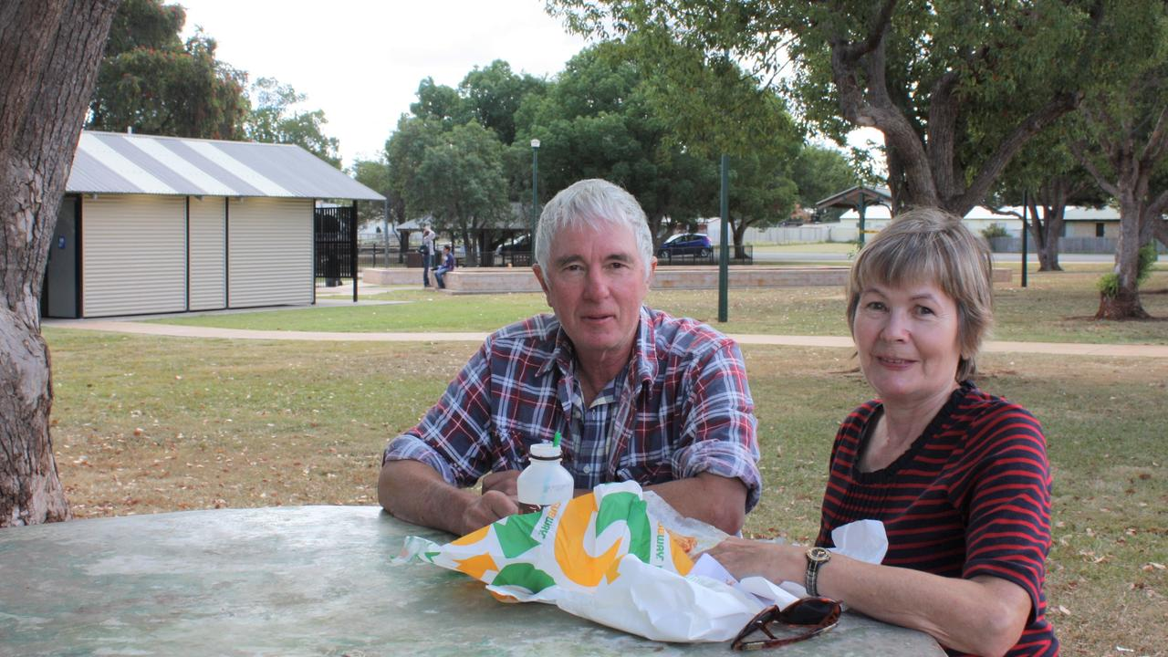 Keith and Donna Litzow from Murgon can finally enjoy their takeaway in the picturesque park, rather than their car thanks to lighter restrictions.