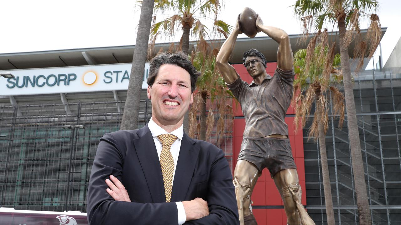 Rugby great John Eales at the unveiling of his bronze statue, Suncorp Stadium, Milton. Photographer: Liam Kidston.