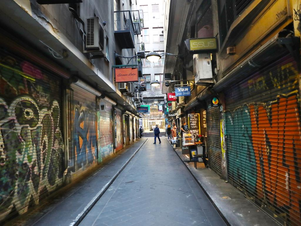 A normally bustling laneway in Melbourne is dead. That's set to change very soon. Picture: David Crosling