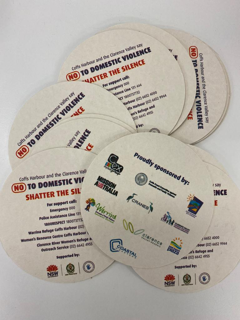 Putting phone numbers of police and domestic violence agencies on items like drink coasters will give people easy access to help.