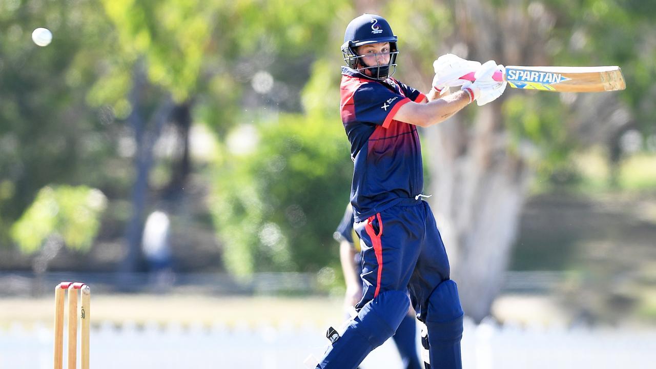 CUT SHOT: Maroochydore's Adam Thornton during the Sunshine Coast T20 finals. Photo: Patrick Woods / Sunshine Coast Daily.