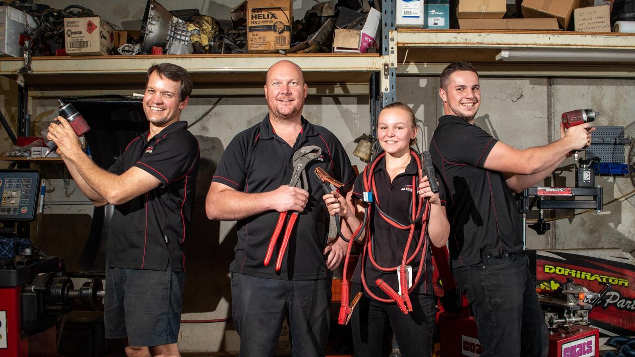 TOP MECHANICS: The Lockyer Automotive team Carl Livingstone, Garry Green, Kasey Bosel and Jayden Manteufel. PHOTO: ALI KUCHEL