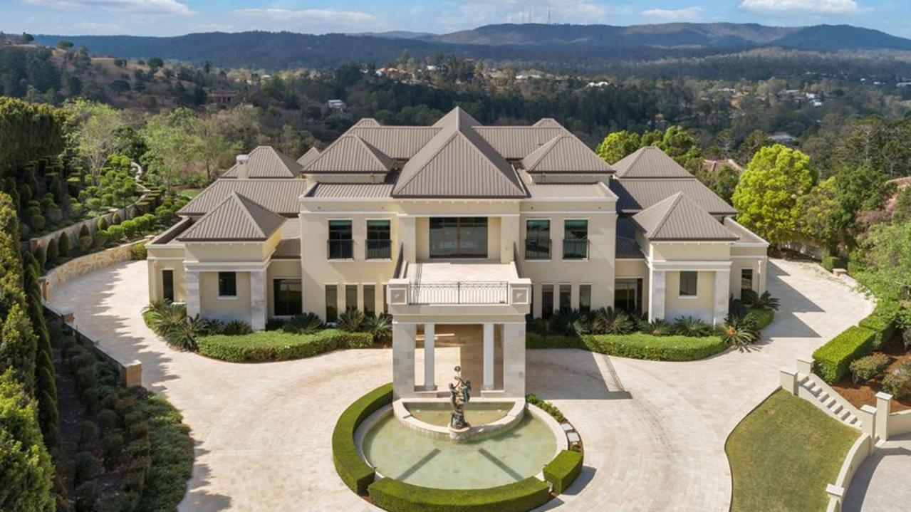 Dubbed 'Palazzo Pullenvale', the home of Scifleet Toyota founder Gordon Scifleet has hit the market Friday. Picture: Realestate.com.au.