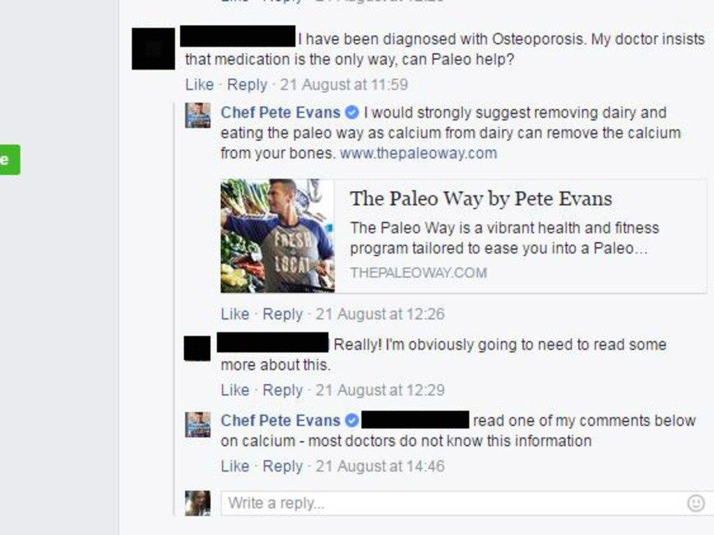 Pete Evans' dubious calcium claim.