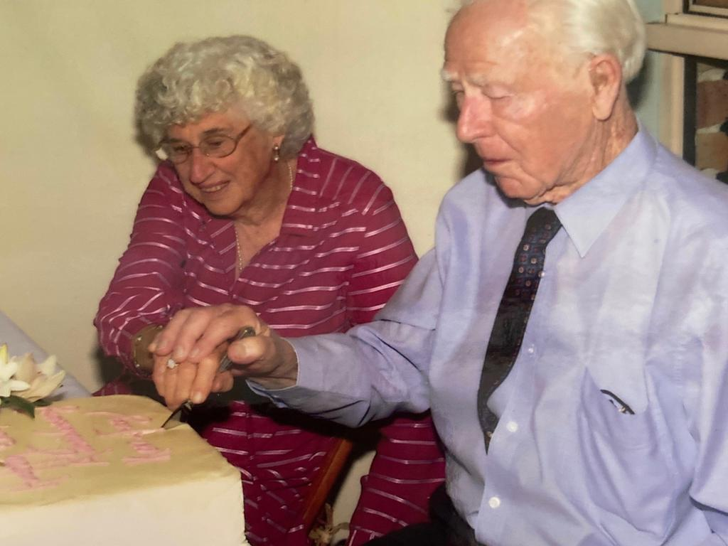 Fay Rendoth, 92, with her late husband, Ken, on their 70th wedding anniversary. Picture: Supplied