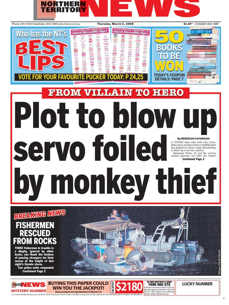 Benjamin Watts featured on the front page of the NT News in 2008 for helping to catch a man threatening to blow up a servo