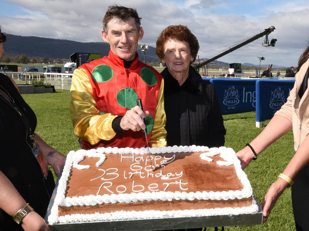 Robert Thompson with his 60th birthday cake at the Scone Cup Carnival in 2018.