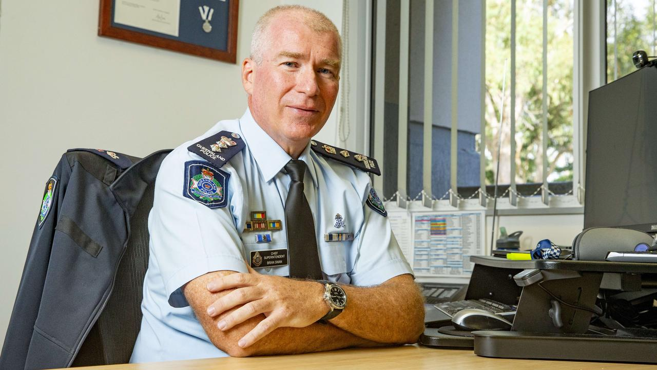 Logan District Chief Superintendent Brian Swan at his new desk at Logan Central. Picture: Richard Walker