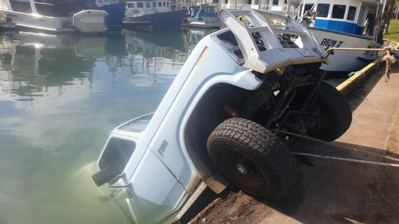 This F truck went for a dip at Bribie Island Marina recently after its handbrake failed.