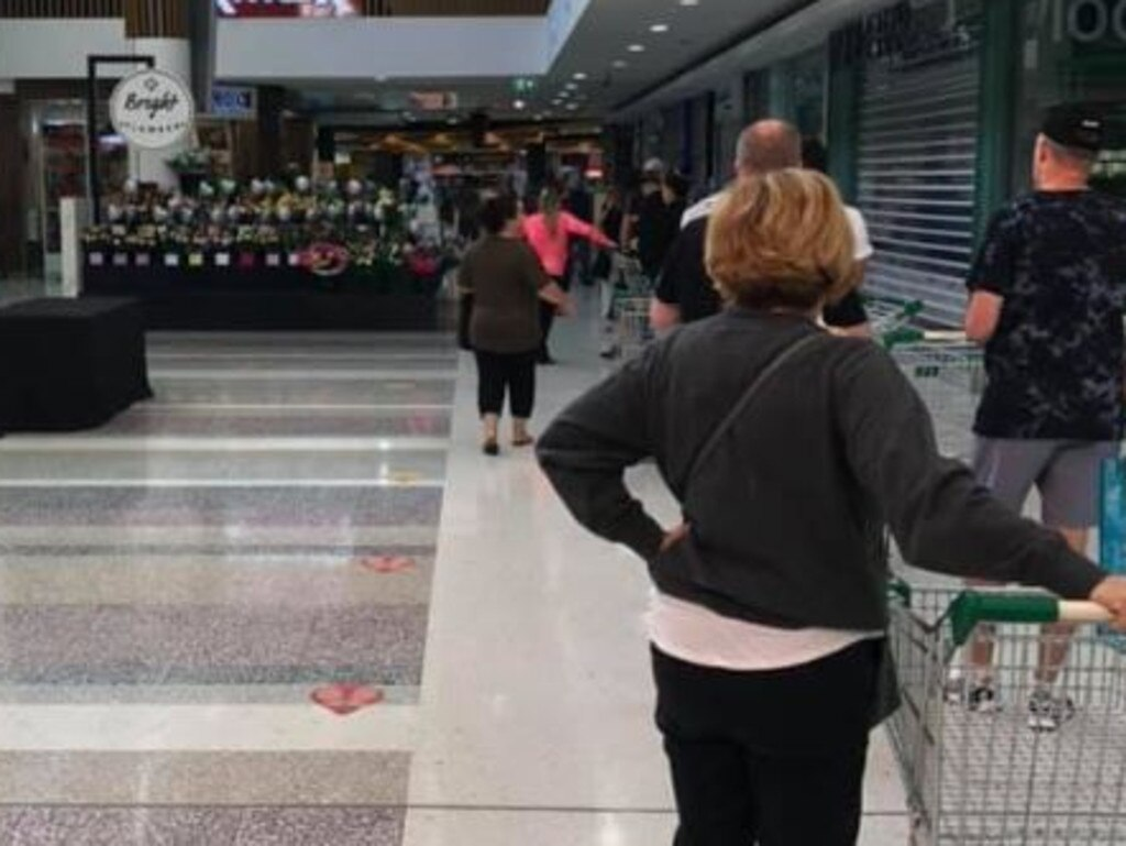 Another photo showed customers waiting to get into Aldi with their trolleys ready. Picture: Facebook