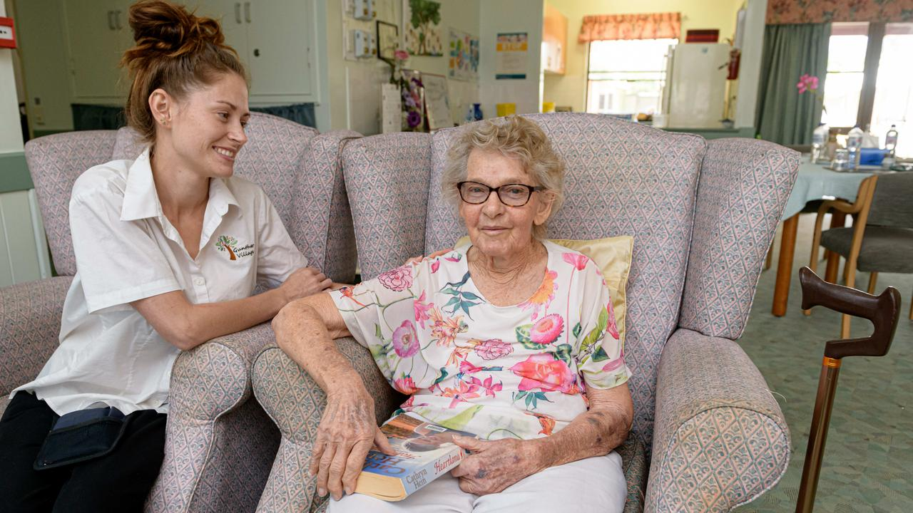 Gunther Retirement Village Gayndah RN Emily Moses 25 yrs old and resident Elsie Vicary. FILE Photo Paul Beutel.
