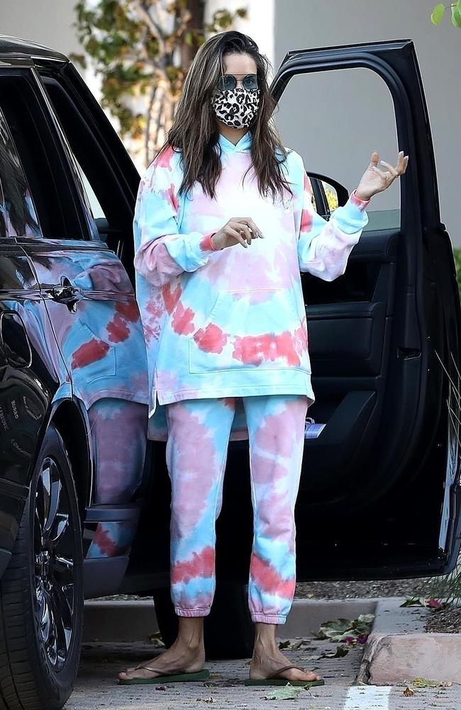 Supermodel Alessandra Ambrosio in tie dye trackies. Picture: BACKGRID