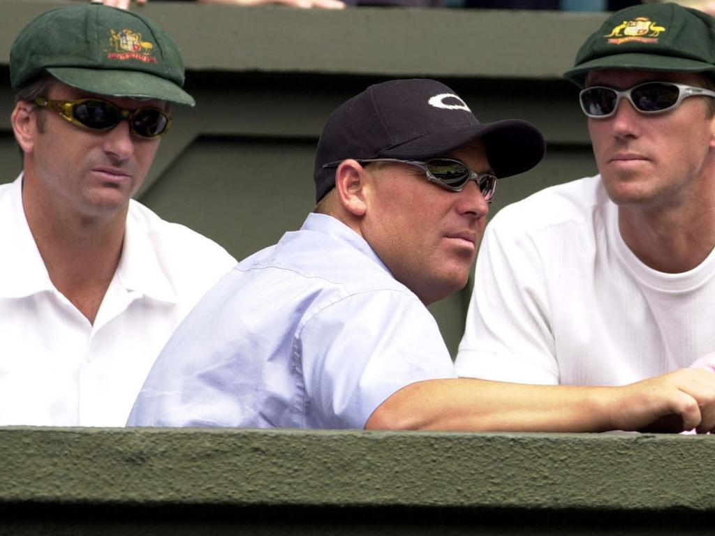 Steve Waugh, Shane Warne and Glenn McGrath watching the 2001 Wimbledon final.