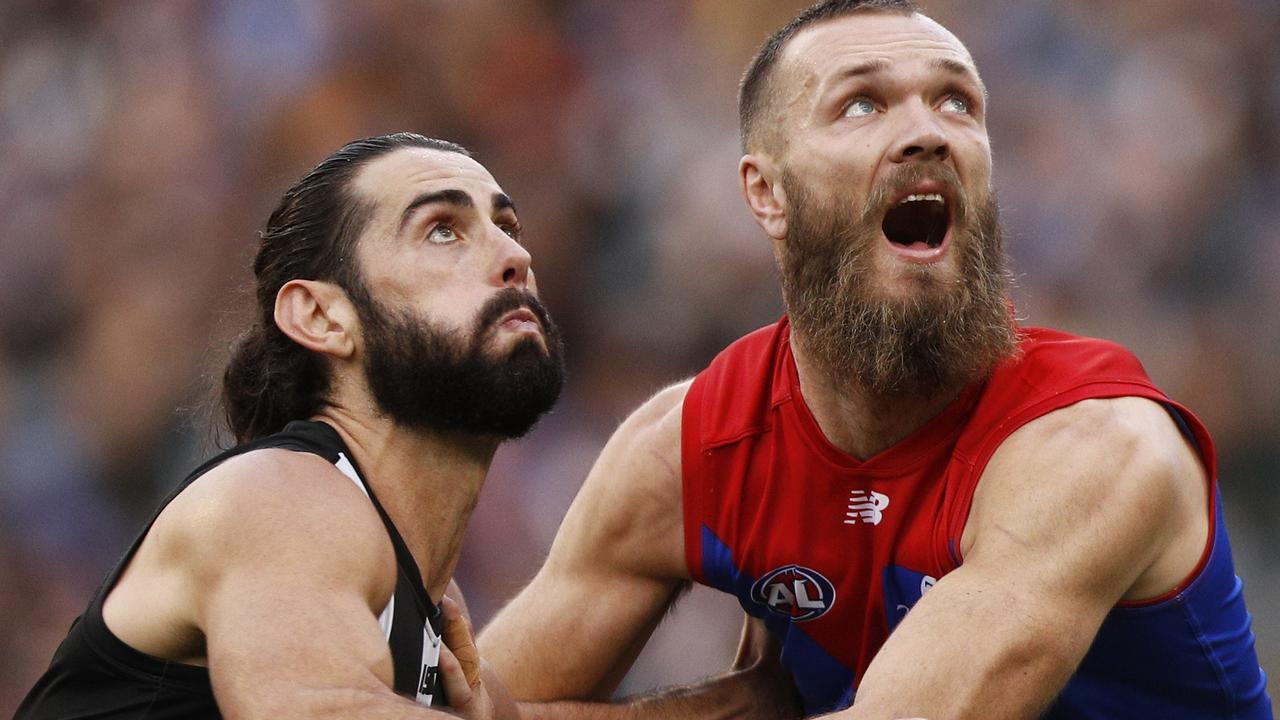 Brodie Grundy and Max Gawn could battle it out in the AFL's return. Picture: AAP