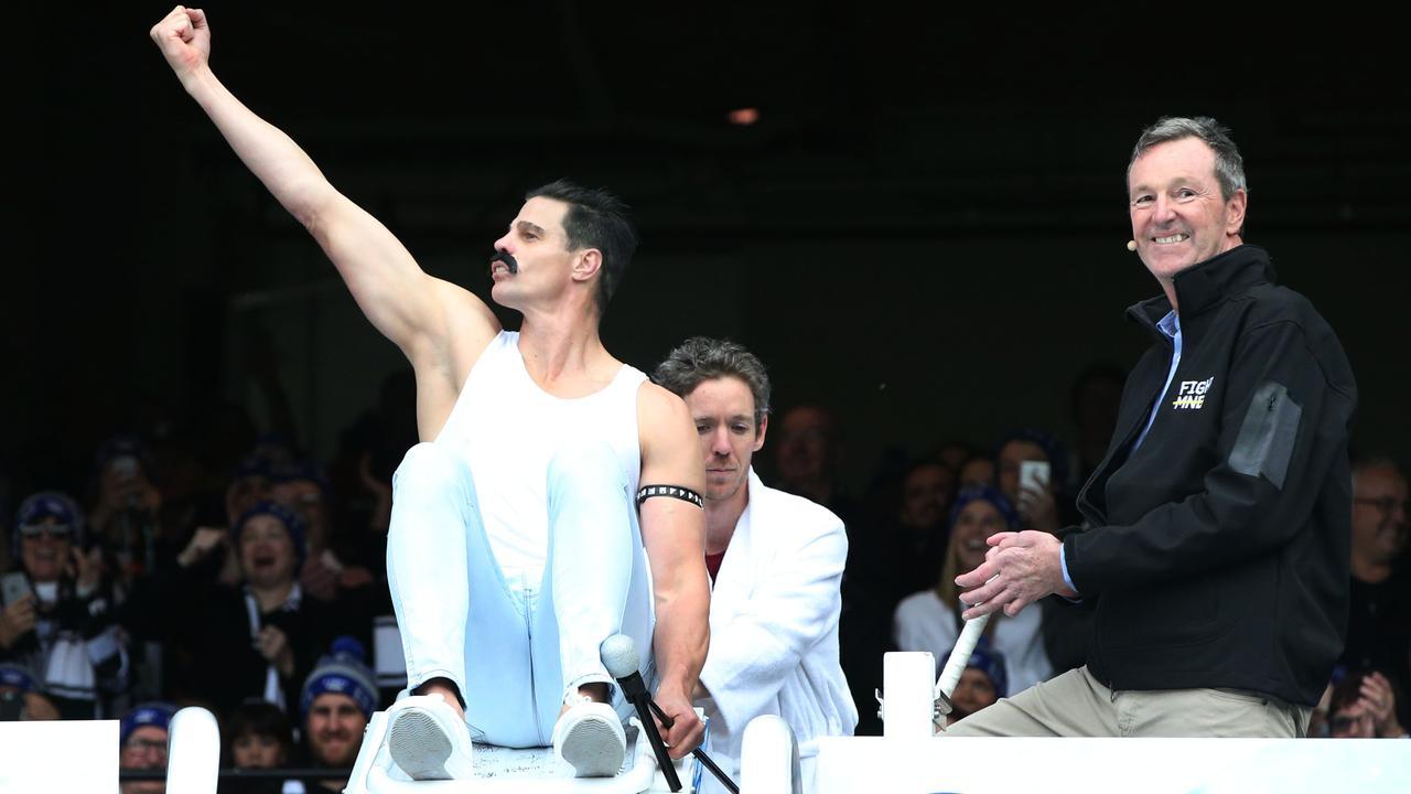 St Kilda legend Nick 'Freddie Mercury' Riewoldt with MND crusader Neale Daniher at last year's MCG Big Freeze. Picture: AFL Photos/Getty Images