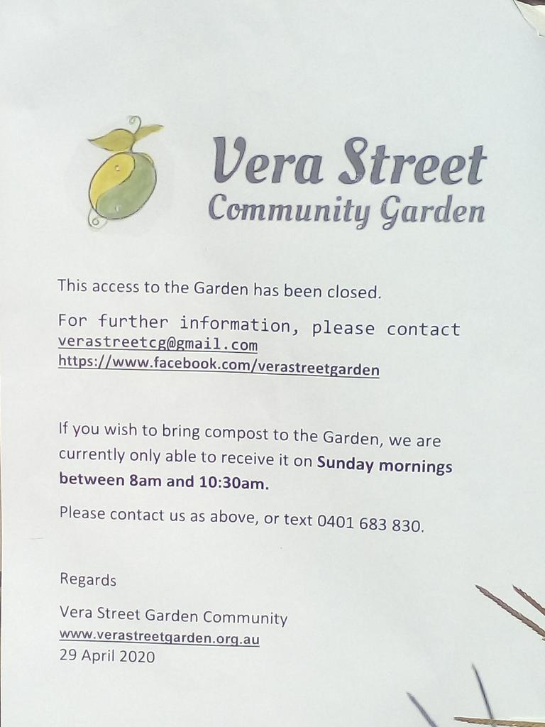 Sign put up by the Vera St Community Garden organisers.