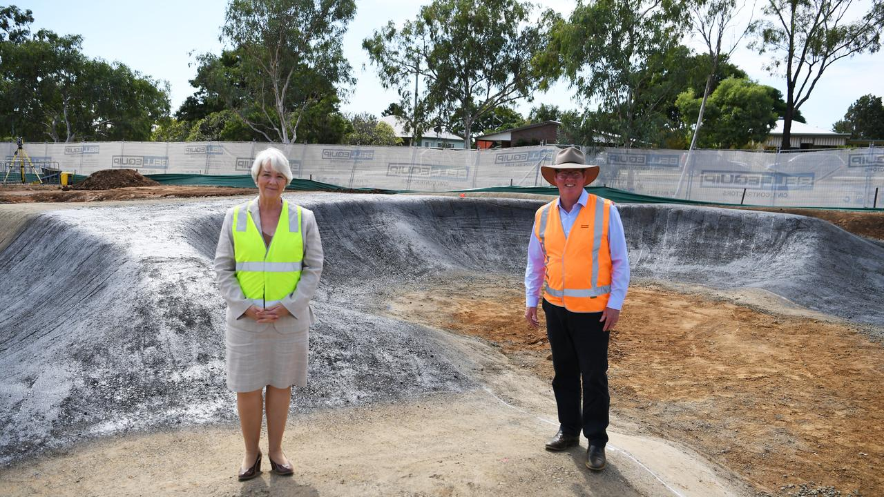Mayor Margaret Strelow and member for Rockhampton Barry O'Rourke at the Gracemere pump track.