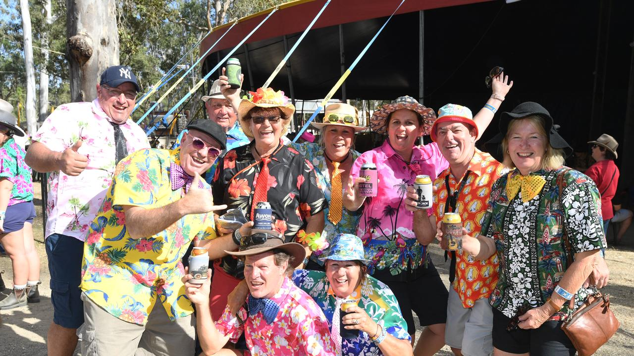 At the 2019 Gympie Muster are Peter Boyle, Sir Marc Harmer, Cyril Curley, Bev Curley, Pat Possum, Anita Curley, Brett Kermio, Robyn Brown, Harry Brown, Kay Wright