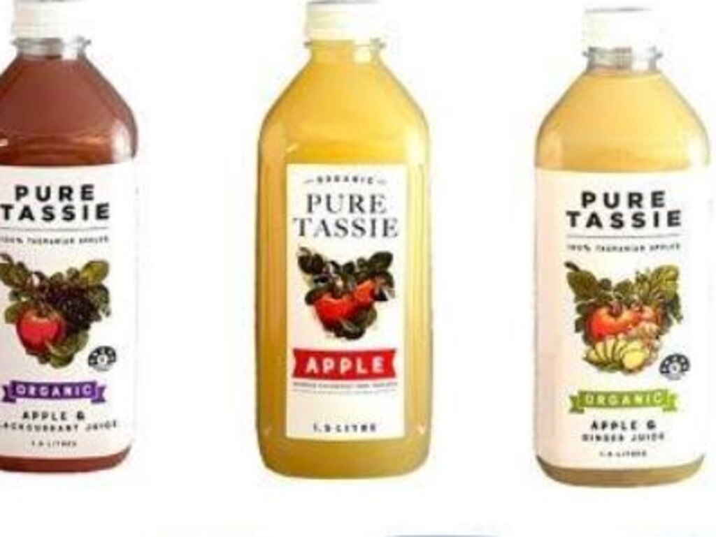 A selection of Pure Tassie's Organic Pure Apple juice products have been recalled.