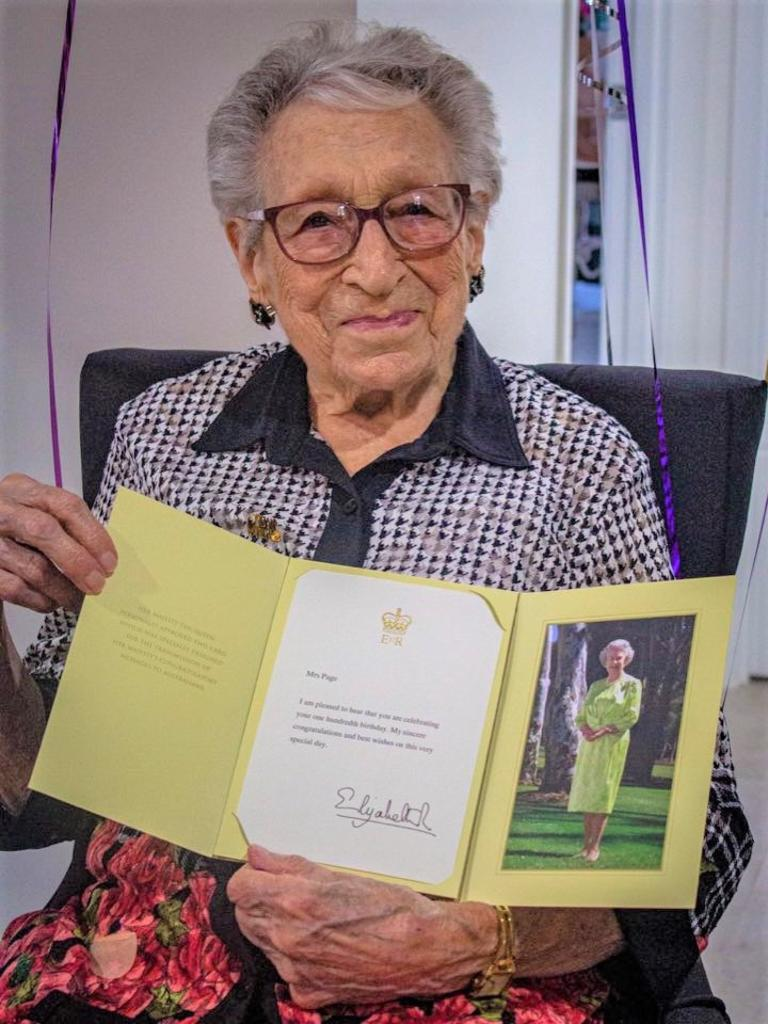 100 YEARS ON: Gwendoline Page celebrated her 100th birthday on Mother's Day 2020 by opening about 200 cards and gifts she'd been sent from strangers across the country. Photo: Captured by Leah